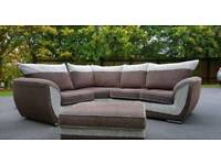 Corner sofa fabric grey / cappuchino includes large footstool immaculate