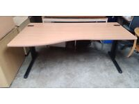 Left Hand Curved Wooden Office Desk- Includes 2 Cable Port Holes