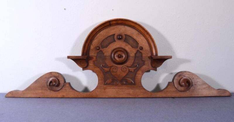 "37"" German Antique Biedermeier Pediment Crown Walnut Wood Crest"