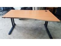 Right Hand Curved Wooden Office Desk- Slight Damage To The Front