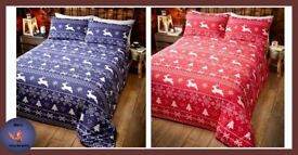 RED/BLUE BERGAN DUVET SET, prices in picture.