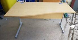 Left Hand Curved Wooden Office Desk