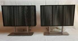 Pair of Stainless Steel Contemporary Table Lamps
