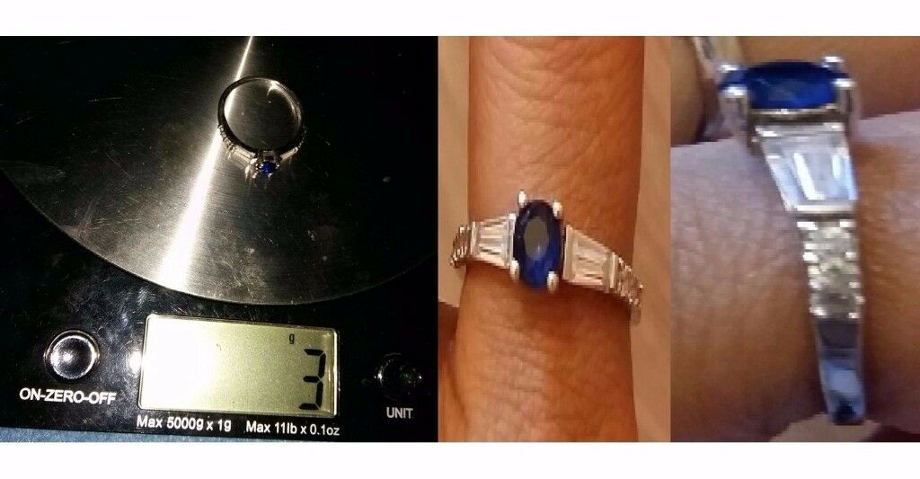 Ladies Sapphire with Topaz Stone 925 Silver Size 7 Ring