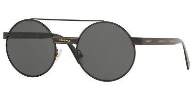 Versace Round Sunglasses VE2210 100987 52mm Black / Grey (Versace Round Sunglasses)