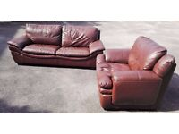 Leather sofa + armchair / free local delivery
