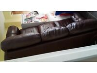 Brown leather sofa 3 seater..free