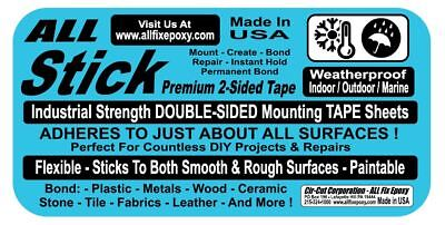 All-stick 2 Sided Mounting Tape Sheet Large 9 X 11.5 Tile Wood Stone Metal