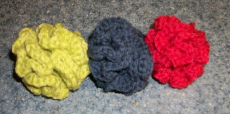 Three New Crochet Handmade Brain Ball Cat Toys For Spaniel Rescue Charity
