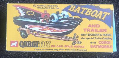 Corgi Juniors Batman empty box Batmobile boat and trailer
