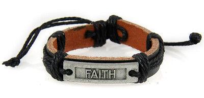4030529 FAITH Leather Bracelet Christian Inspirational Scripture Jesus Bible ...