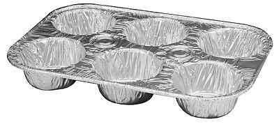 6-cup Aluminum Foil Muffin Cupcake Pan 25pk -disposable Containers Ref 355
