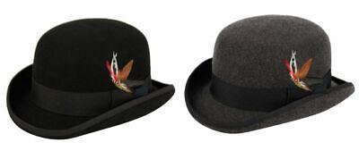 Premium Wool Felt Derby Bowler Hat w/Grosgrain Band, Feather, Round Crown - Felt Bowler Derby Hat