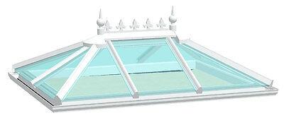 UPVC Roof Lantern Skylight Orangery Roof White Inc Glass 750mm X 2250mm