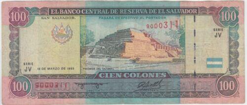 El Salvador banknote P140-0311 100 Colones 6.3.1995 Serie JV, F-VF  WE COMBINE