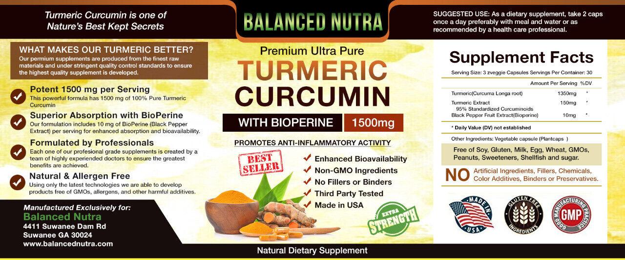 Best Selling Turmeric Curcumin with Bioperine Black Pepper 1500mg Extra Strength 4