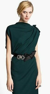 2K Auth New LANVIN 2015 Slate GREEN Assymetric Midi DRESS with Contrast TRIM