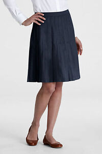 LANDS END WRINKLE FREE PLEATED KNEE LENGTH SKIRT KHAKI NAVY SIZE 4 6 8 10 12 14