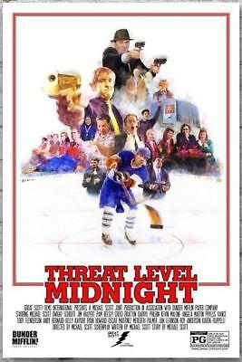 Threat Level Midnight Movie Poster The Office Dunder Mifflin - 26 x 36 white