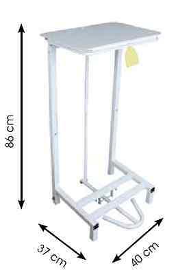 White Metal Steel Step On Pedal Refuse Bin Sack Holder Free Standing