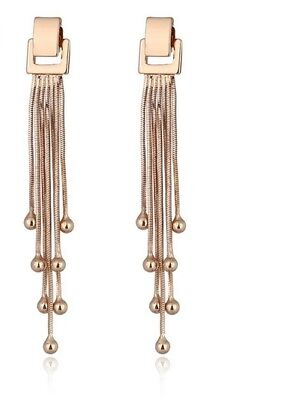 Bn Luxury Tassel Fringe 18ct Gold Plated Chain Drop Long Square Pierced Earrings, usado segunda mano  Embacar hacia Spain