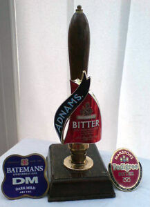 vintage brass wood bar pump beer tap handle + clips marstons batemans