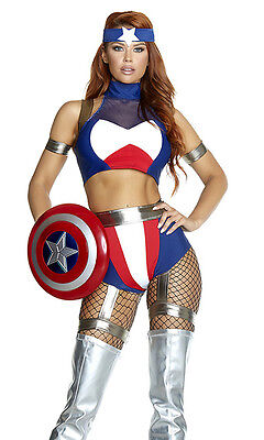 Sexy Forplay Super Soldier Comic Hero Captain America Red White Blue Costume