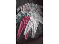 0-3 Month baby girls sleepsuit bundle