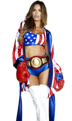 Female Boxer Costumes (Forplay Get Em' Champ Red, White & Blue Boxer Fighter 4pc)