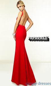 Mori Lee Sleek Backless Prom Gown Red BRAND NEW