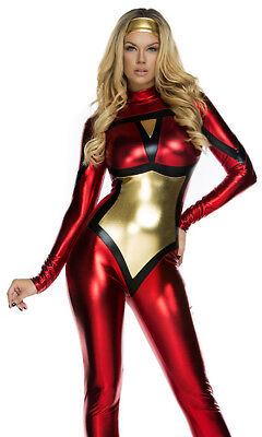 Sexy Webbed Comic Book Hero Metallic Catsuit Jumpsuit - Sexy Spider Woman Kostüme