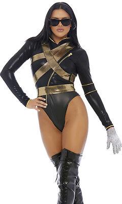 Sexy Forplay I'm Bad Superstar Black & Gold Bodysuit Costume Jackson 558774](Superstar Costumes)