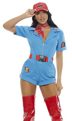 Forplay Sexy Blue Pit Stop Hottie Romper Mechanic 4pc Costume