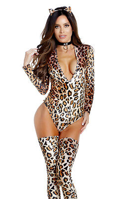 Forplay Sexy Leopard Print Cat Long Sleeve Bodysuit 3pc Costume - Cat Bodysuit Costume