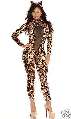 Sexy Forplay Kitty Kat Cat Leopard Catsuit Jumpsuit Costume 2pc 553437