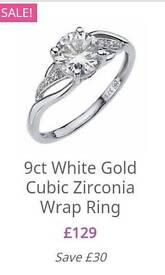 9 carat white gold Size N