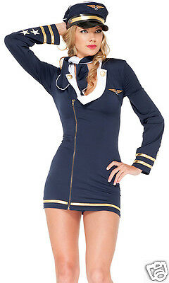Forplay Sexy Mile High Maiden Stewardess Pilot Dress Costume 3pc Set](Mile High Flight Attendant Costume)