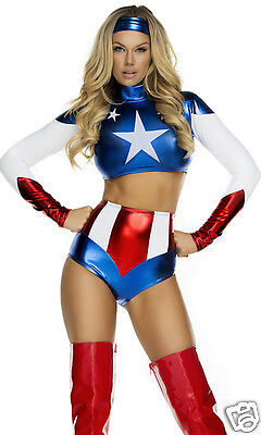 Forplay Sexy Pretty Patriot America Bodysuit Superhero Costume Red, White, Blue (Superhero White Costume)