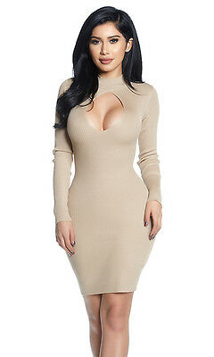 - Forplay Neutral Territory Long Sleeve Mock Neck Keyhole Cutout Mini Dress 887106