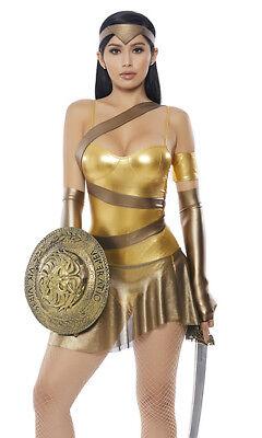 Sexy Forplay Golden Amazonian Gladiator Warrior Metallic Bodysuit Costume - Gladiator Costume Female