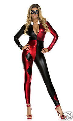 Forplay Sexy Jazzy Jester Black & Red Metallic Catsuit Jumpsuit Costume ~ SALE