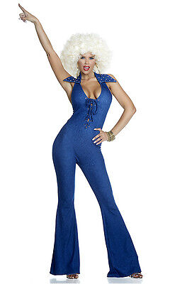 Sexy Forplay Disco Fever Faux Blue Denim Bell Bottom Jumpsuit Costume  - Sexy Disco Jumpsuit Kostüm