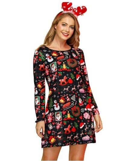 Women's Soft Pajama Pj's Dress Christmas Decoration Dresses Fashionable Elegant Clothing, Shoes & Accessories