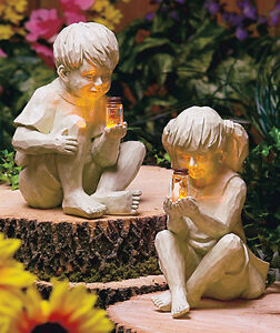 BOY-GIRL-SOLAR-FIREFLY-BUG-JAR-GARDEN-STATUE-OUTDOOR-PORCH-YARD-DECOR-LIGHT-NEW
