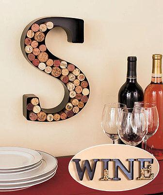 PERSONALIZED MONOGRAM LETTER INITIAL WINE LOVERS CORK HOLDER WALL ART BAR (Wine Cork Art)