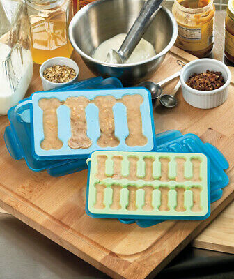 Chillin Bonz Frozen Bone Dog Treat Maker - Leak Proof Tray Ice Pop Molds