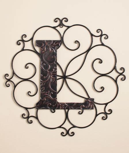 Personalized Bronze Metal Scrolled Monogram Wall Hanging