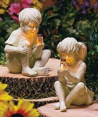 Kids Boy or Girl Solar Lighted Fireflies in Jar Statue Lawn Yard Garden Decor Lighted Lawn Decorations