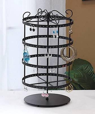 NEW 96 Pair Rotating Earring Display Rack Jewelry Holder Revolving Stand Black
