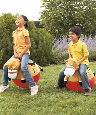 Toy Race Horses (2 GIDDY UP RACING HORSE HOPPERS Hopping Bouncing Bounce Hop Race Toy)